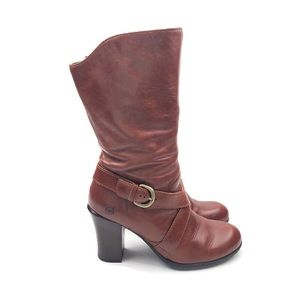 BORN   Nuri Leather Boots   Mid Calf   Leather   7